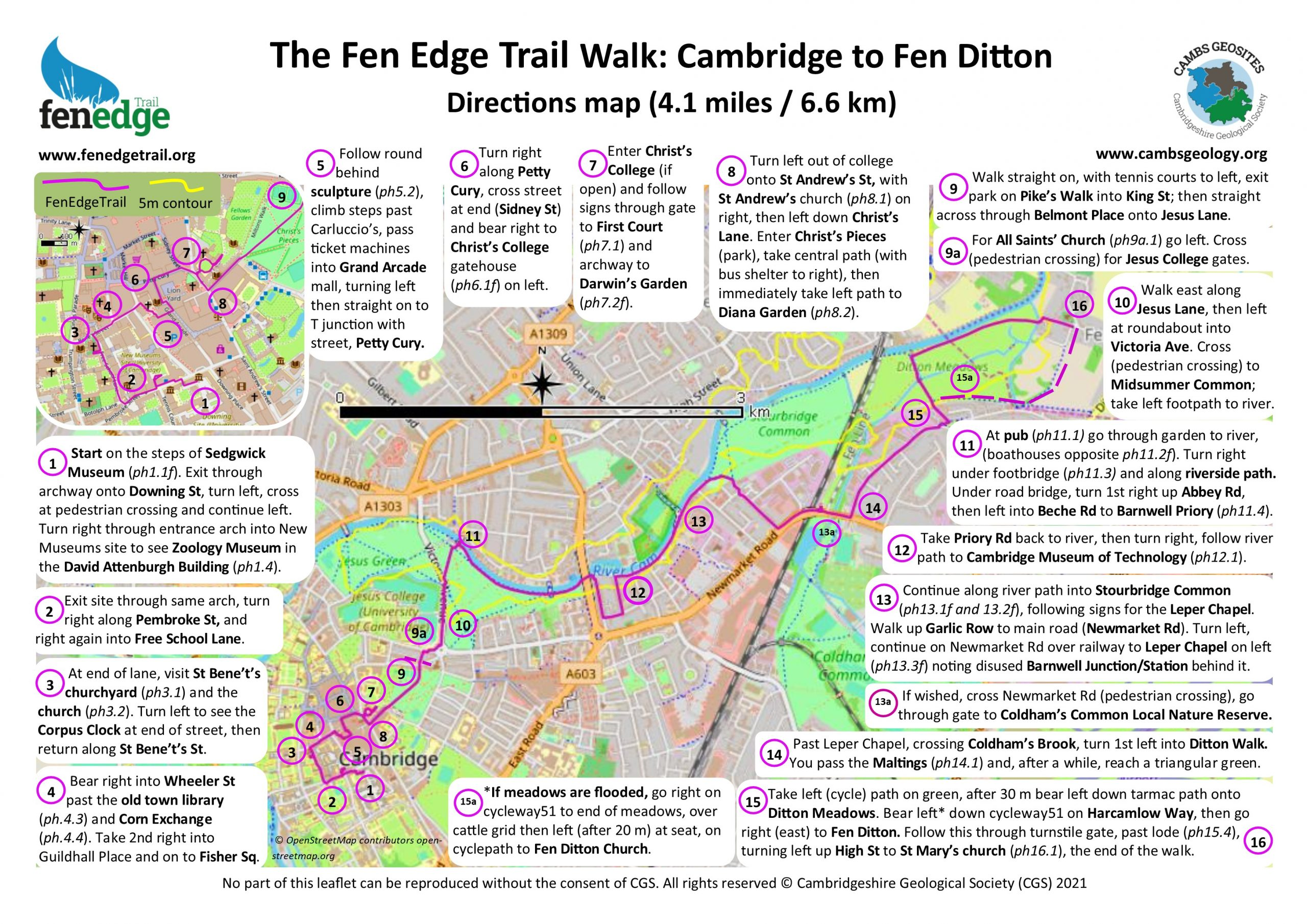 Cambridge to Fen Ditton map